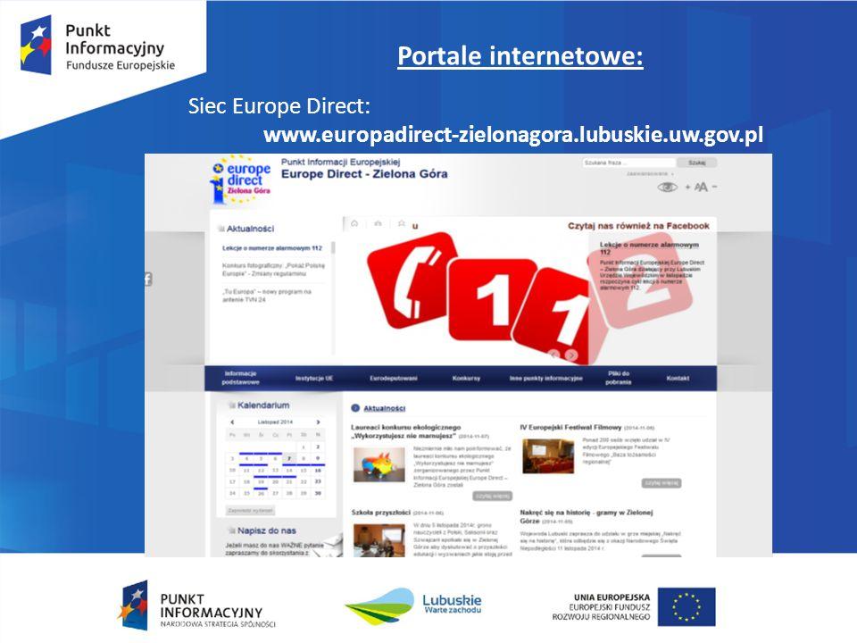 Portale internetowe: Siec Europe Direct: www.europadirect-zielonagora.lubuskie.uw.gov.pl