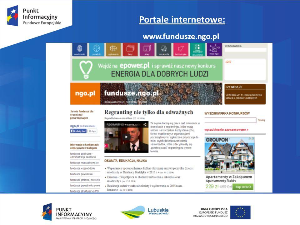 Portale internetowe: www.fundusze.ngo.pl