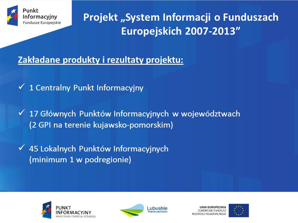 """Projekt """"System Informacji o Funduszach Europejskich 2007-2013"""" Zakładane produkty i rezultaty projektu: 1 Centralny Punkt Informacyjny 17 Głównych Pu"""