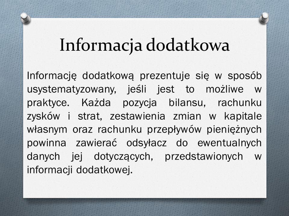 Informacja dodatkowa Informację dodatkową prezentuje się w sposób usystematyzowany, jeśli jest to możliwe w praktyce.