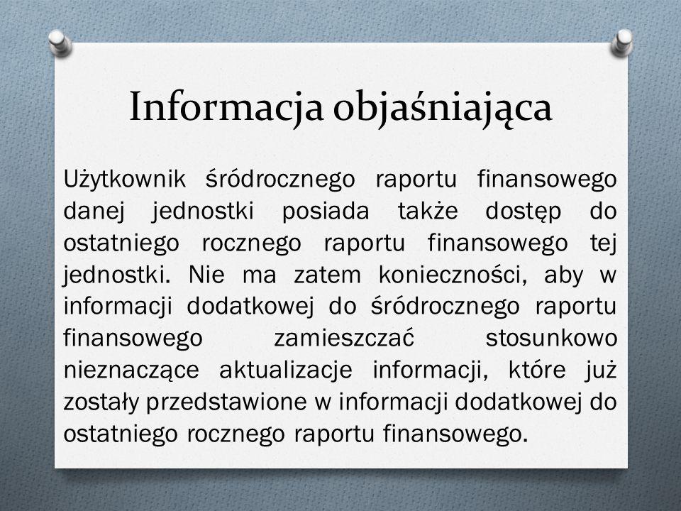 Informacja objaśniająca Użytkownik śródrocznego raportu finansowego danej jednostki posiada także dostęp do ostatniego rocznego raportu finansowego tej jednostki.
