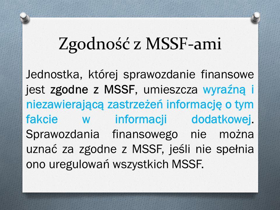 Zgodność z MSSF-ami Jednostka, której sprawozdanie finansowe jest zgodne z MSSF, umieszcza wyraźną i niezawierającą zastrzeżeń informację o tym fakcie w informacji dodatkowej.