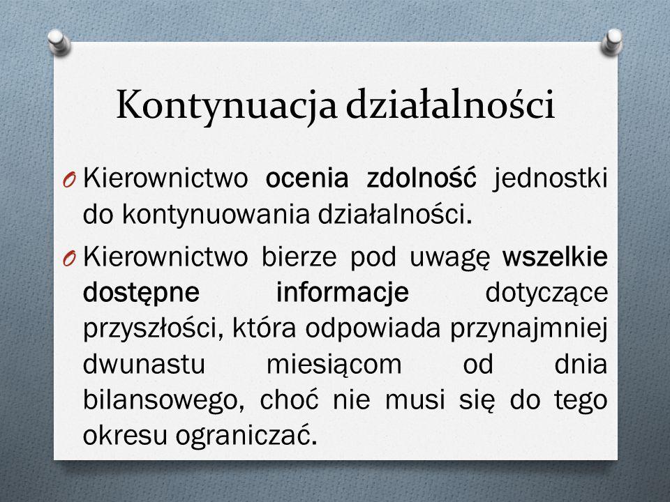 Kontynuacja działalności O Kierownictwo ocenia zdolność jednostki do kontynuowania działalności.