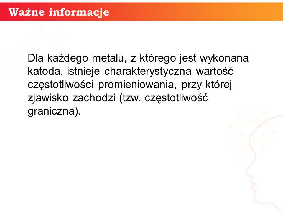 20 Ważne informacje Dla każdego metalu, z którego jest wykonana katoda, istnieje charakterystyczna wartość częstotliwości promieniowania, przy której zjawisko zachodzi (tzw.