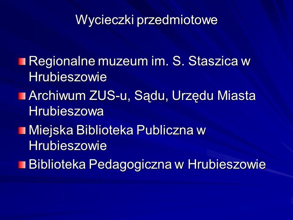 Wycieczki przedmiotowe Regionalne muzeum im. S. Staszica w Hrubieszowie Archiwum ZUS-u, Sądu, Urzędu Miasta Hrubieszowa Miejska Biblioteka Publiczna w