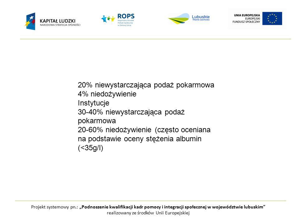 """Projekt systemowy pn.: """"Podnoszenie kwalifikacji kadr pomocy i integracji społecznej w województwie lubuskim realizowany ze środków Unii Europejskiej 20% niewystarczająca podaż pokarmowa 4% niedożywienie Instytucje 30-40% niewystarczająca podaż pokarmowa 20-60% niedożywienie (często oceniana na podstawie oceny stężenia albumin (<35g/l)"""