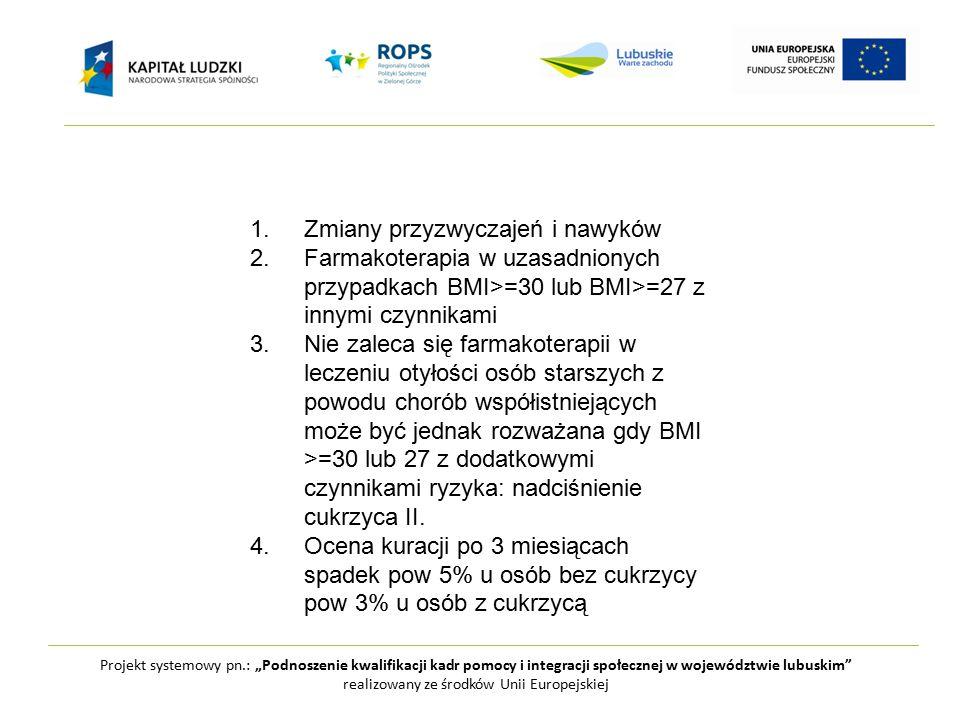 """Projekt systemowy pn.: """"Podnoszenie kwalifikacji kadr pomocy i integracji społecznej w województwie lubuskim realizowany ze środków Unii Europejskiej 1.Zmiany przyzwyczajeń i nawyków 2.Farmakoterapia w uzasadnionych przypadkach BMI>=30 lub BMI>=27 z innymi czynnikami 3.Nie zaleca się farmakoterapii w leczeniu otyłości osób starszych z powodu chorób współistniejących może być jednak rozważana gdy BMI >=30 lub 27 z dodatkowymi czynnikami ryzyka: nadciśnienie cukrzyca II."""