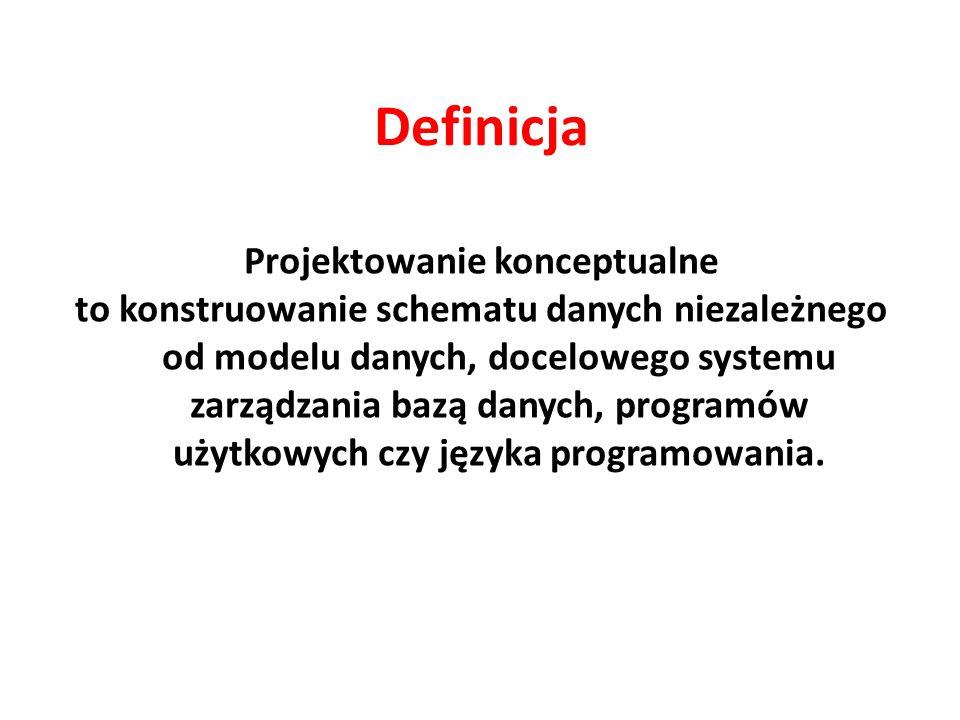 Definicja Projektowanie konceptualne to konstruowanie schematu danych niezależnego od modelu danych, docelowego systemu zarządzania bazą danych, programów użytkowych czy języka programowania.