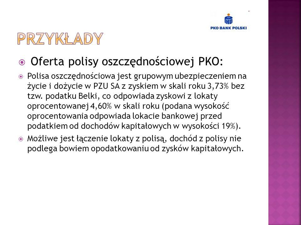  Oferta polisy oszczędnościowej PKO:  Polisa oszczędnościowa jest grupowym ubezpieczeniem na życie i dożycie w PZU SA z zyskiem w skali roku 3,73% b