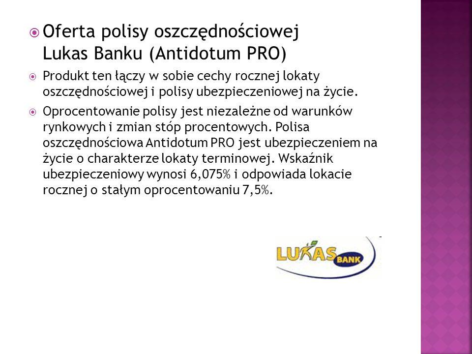  Oferta polisy oszczędnościowej Lukas Banku (Antidotum PRO)  Produkt ten łączy w sobie cechy rocznej lokaty oszczędnościowej i polisy ubezpieczeniow