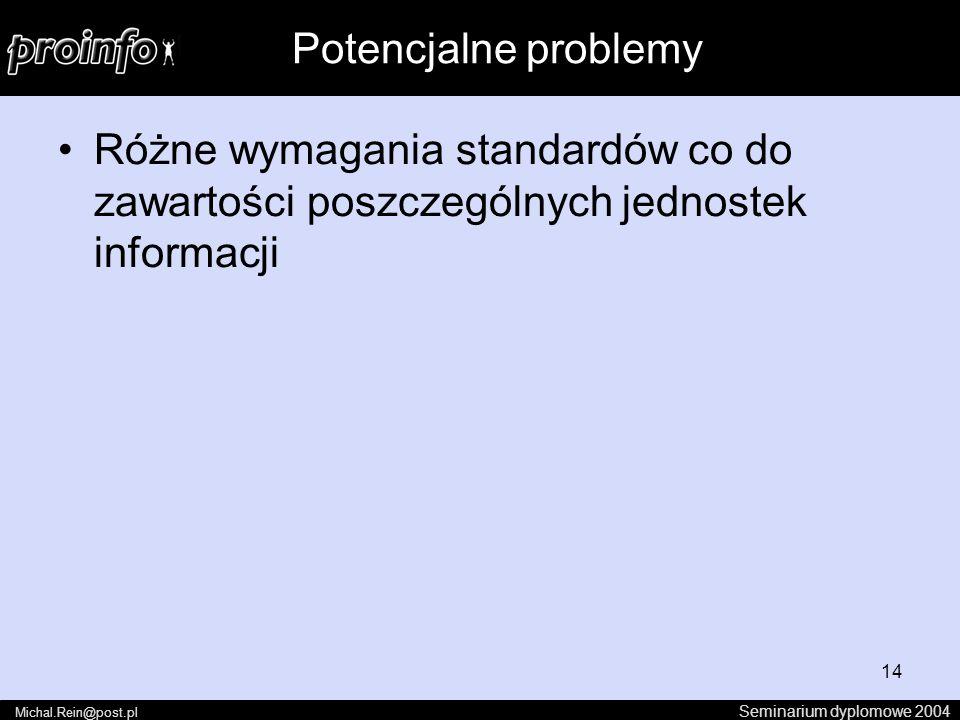 14 Różne wymagania standardów co do zawartości poszczególnych jednostek informacji Seminarium dyplomowe 2004 Michal.Rein@post.pl Potencjalne problemy