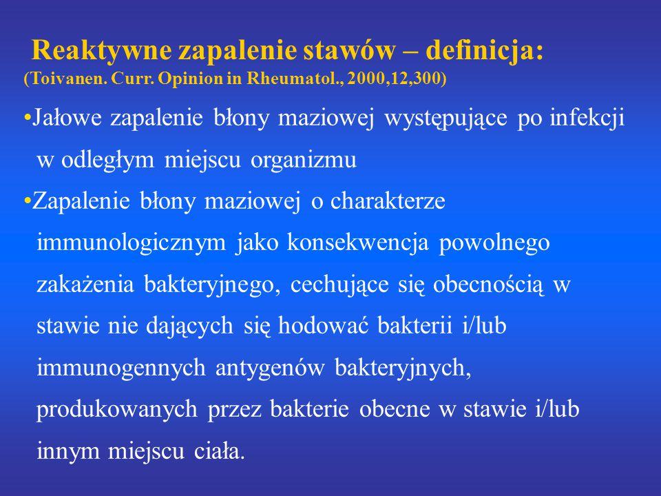 Reaktywne zapalenie stawów – definicja: (Toivanen. Curr. Opinion in Rheumatol., 2000,12,300) Jałowe zapalenie błony maziowej występujące po infekcji w