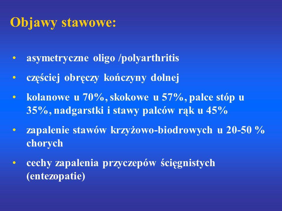 Objawy stawowe: asymetryczne oligo /polyarthritis częściej obręczy kończyny dolnej kolanowe u 70%, skokowe u 57%, palce stóp u 35%, nadgarstki i stawy palców rąk u 45% zapalenie stawów krzyżowo-biodrowych u 20-50 % chorych cechy zapalenia przyczepów ścięgnistych (entezopatie)