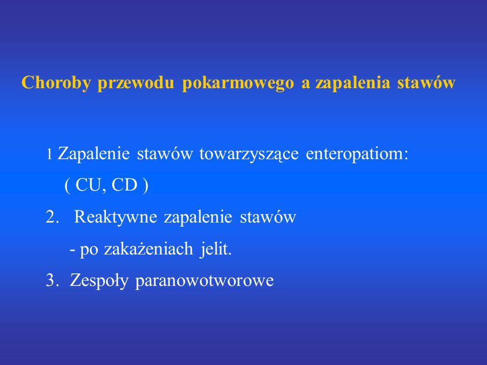 Choroby przewodu pokarmowego a zapalenia stawów 1 Zapalenie stawów towarzyszące enteropatiom: ( CU, CD ) 2. Reaktywne zapalenie stawów - po zakażeniac