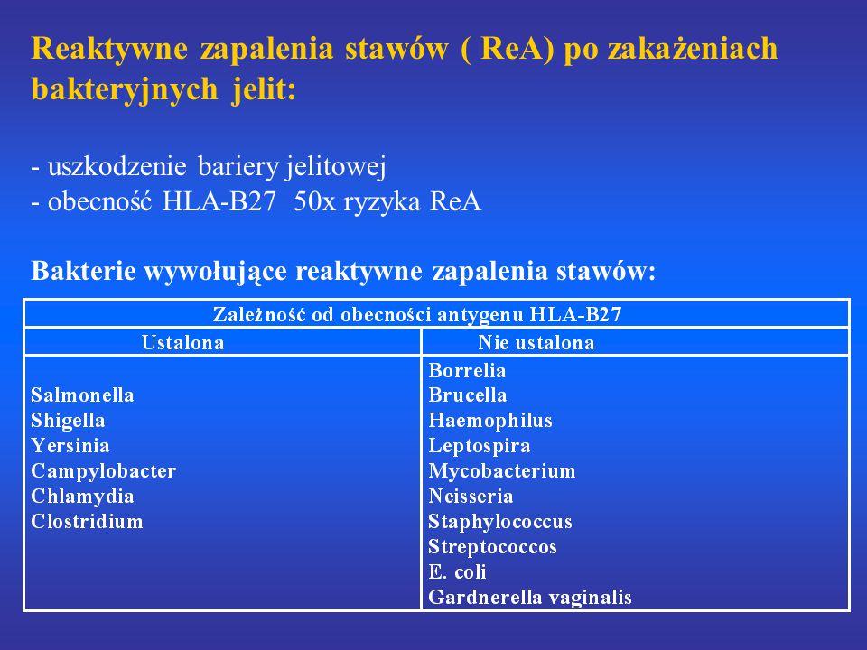 Reaktywne zapalenia stawów ( ReA) po zakażeniach bakteryjnych jelit: - uszkodzenie bariery jelitowej - obecność HLA-B27 50x ryzyka ReA Bakterie wywołujące reaktywne zapalenia stawów: