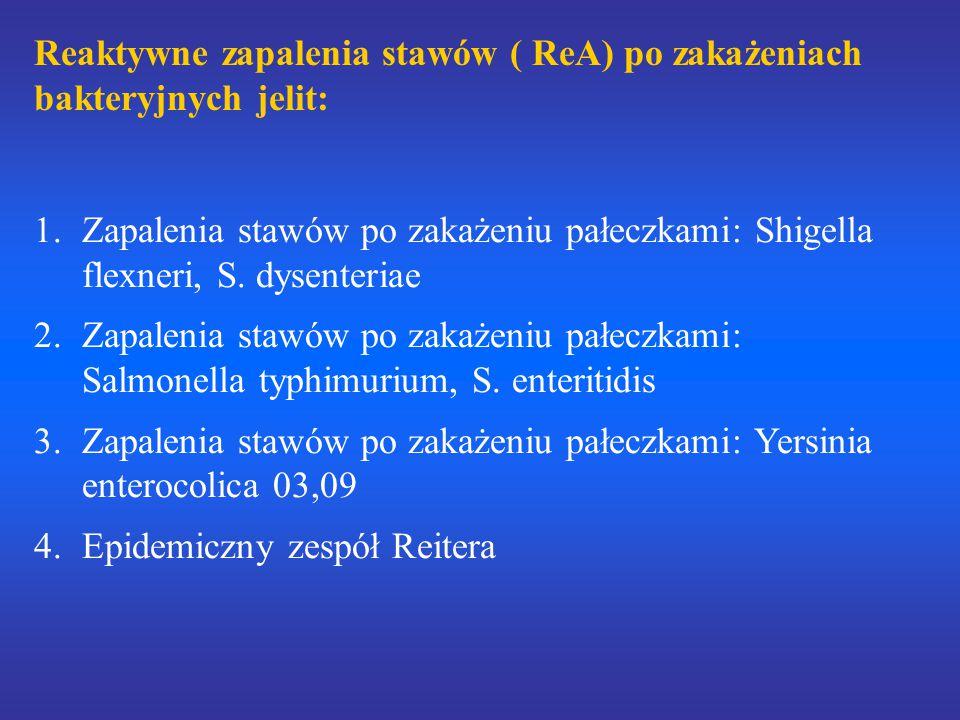 Reaktywne zapalenia stawów ( ReA) po zakażeniach bakteryjnych jelit: 1.Zapalenia stawów po zakażeniu pałeczkami: Shigella flexneri, S. dysenteriae 2.Z