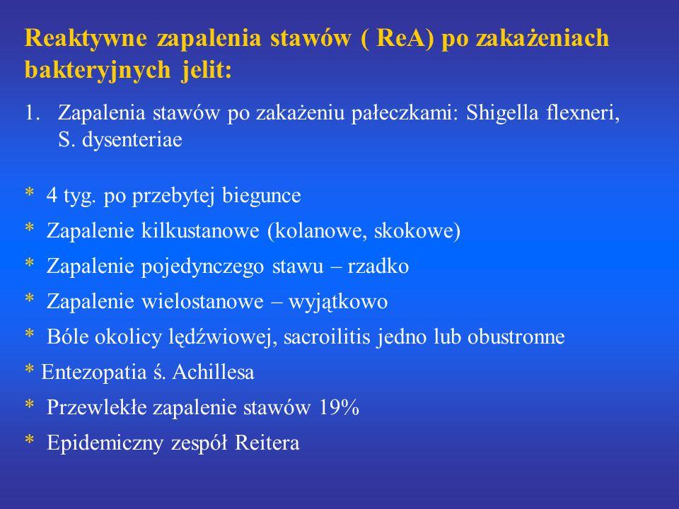 Reaktywne zapalenia stawów ( ReA) po zakażeniach bakteryjnych jelit: 1.Zapalenia stawów po zakażeniu pałeczkami: Shigella flexneri, S. dysenteriae * 4