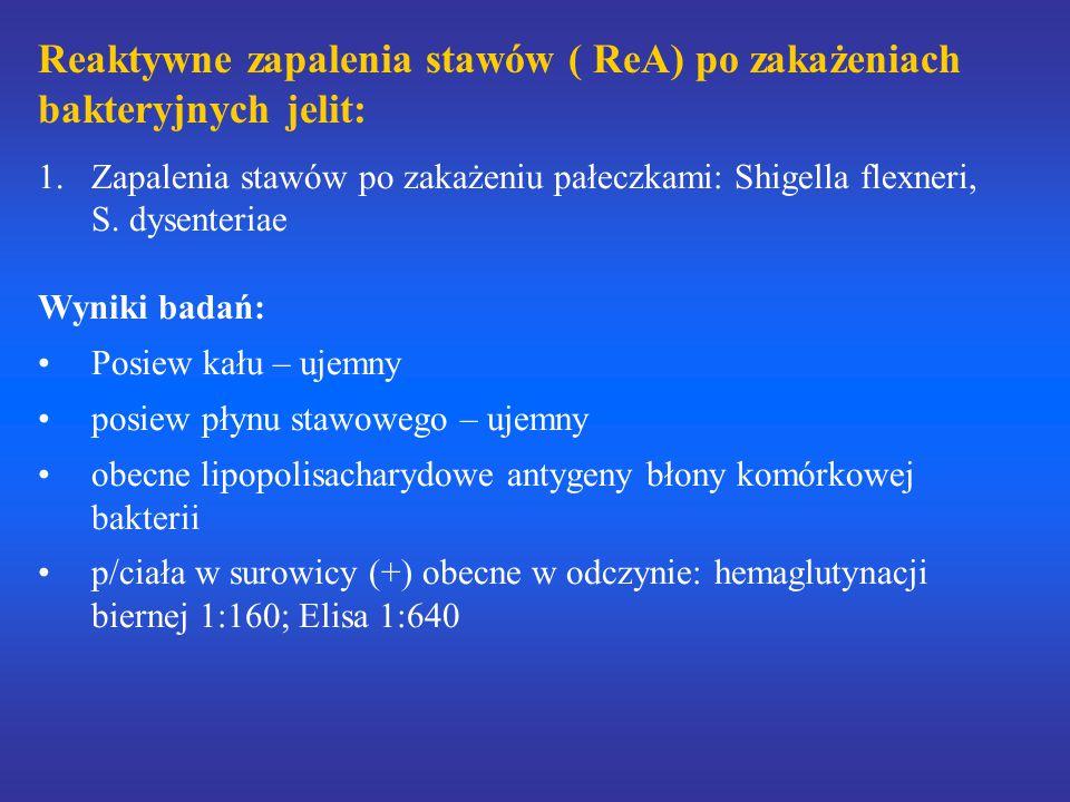Reaktywne zapalenia stawów ( ReA) po zakażeniach bakteryjnych jelit: 1.Zapalenia stawów po zakażeniu pałeczkami: Shigella flexneri, S. dysenteriae Wyn