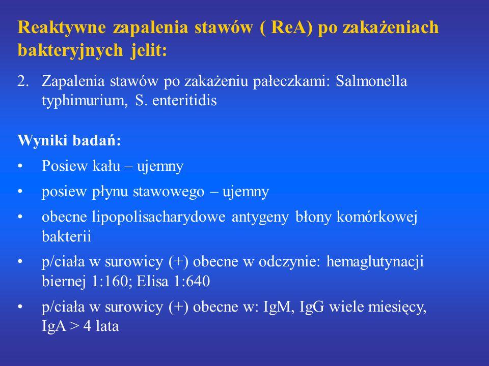 Reaktywne zapalenia stawów ( ReA) po zakażeniach bakteryjnych jelit: 2.Zapalenia stawów po zakażeniu pałeczkami: Salmonella typhimurium, S. enteritidi
