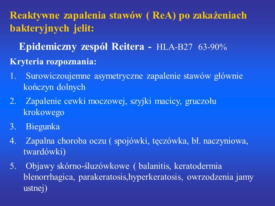 Reaktywne zapalenia stawów ( ReA) po zakażeniach bakteryjnych jelit: Epidemiczny zespół Reitera - HLA-B27 63-90% Kryteria rozpoznania: 1. Surowiczouje