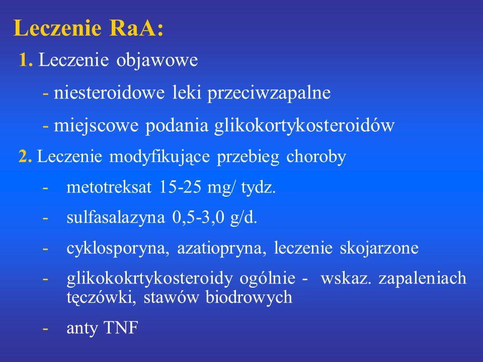 Leczenie RaA: 1. Leczenie objawowe - niesteroidowe leki przeciwzapalne - miejscowe podania glikokortykosteroidów 2. Leczenie modyfikujące przebieg cho