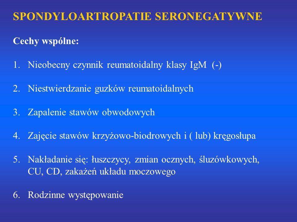 SPONDYLOARTROPATIE SERONEGATYWNE Cechy wspólne: 1.Nieobecny czynnik reumatoidalny klasy IgM (-) 2.Niestwierdzanie guzków reumatoidalnych 3.Zapalenie stawów obwodowych 4.Zajęcie stawów krzyżowo-biodrowych i ( lub) kręgosłupa 5.Nakładanie się: łuszczycy, zmian ocznych, śluzówkowych, CU, CD, zakażeń układu moczowego 6.Rodzinne występowanie