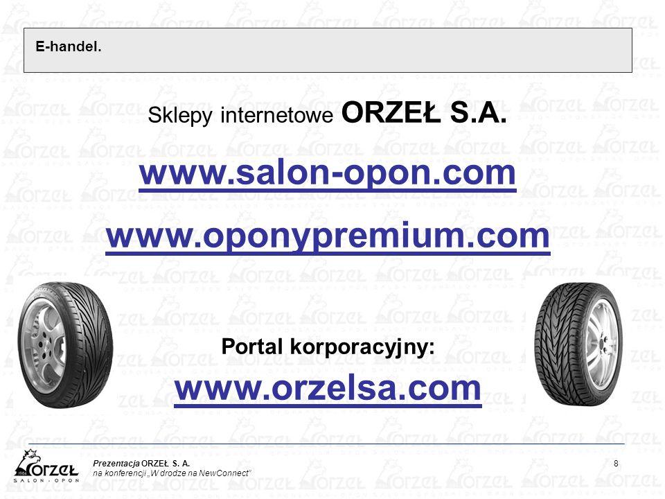 """Prezentacja ORZEŁ S. A. 8 na konferencji """"W drodze na NewConnect"""" E-handel. Sklepy internetowe ORZEŁ S.A. www.salon-opon.com www.oponypremium.com Port"""