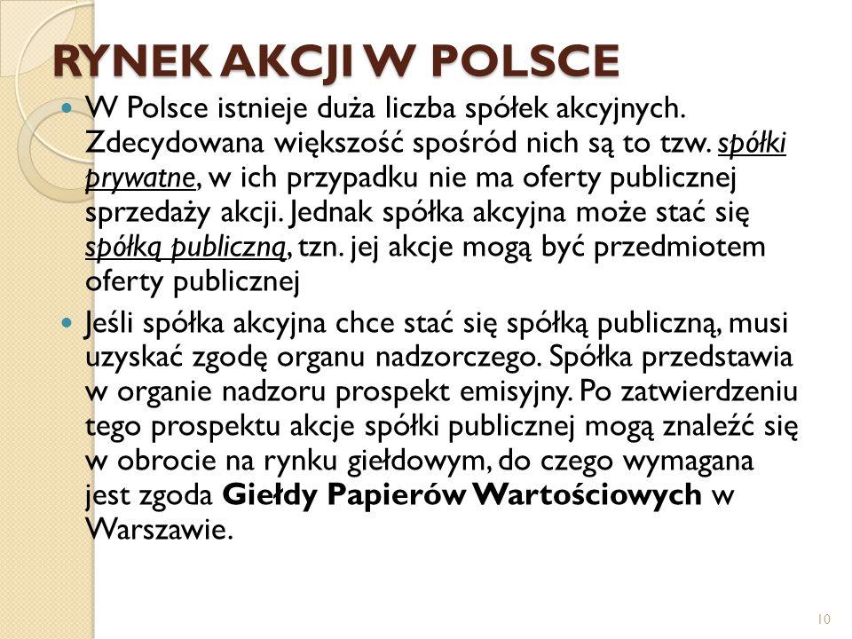 RYNEK AKCJI W POLSCE W Polsce istnieje duża liczba spółek akcyjnych.