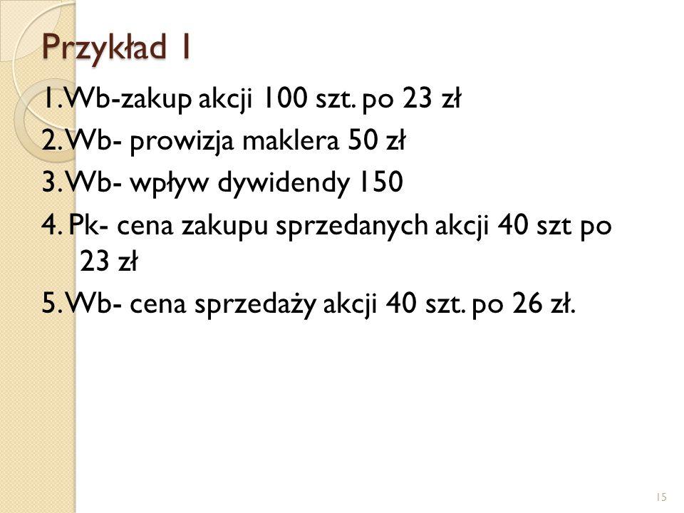 Przykład 1 1.Wb-zakup akcji 100 szt.po 23 zł 2. Wb- prowizja maklera 50 zł 3.