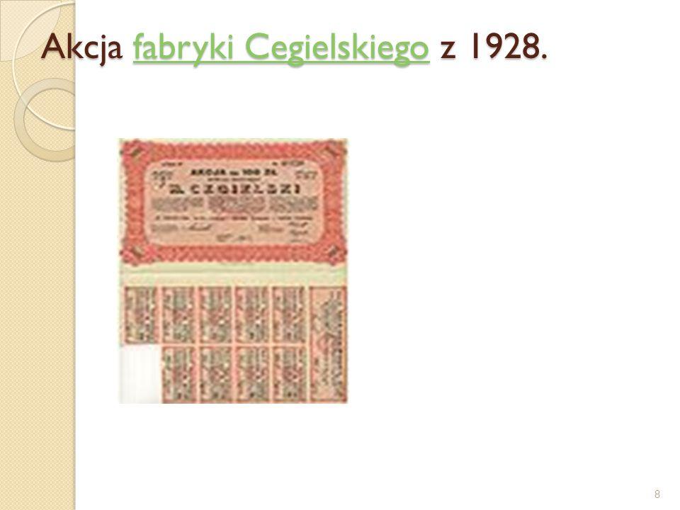 Akcja Banku Towarzystw Spółdzielczych z 1929. Obecnie akcje mają postać zdematerializowaną 9