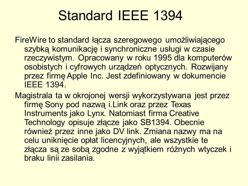 Standard IEEE 1394 FireWire to standard łącza szeregowego umożliwiającego szybką komunikację i synchroniczne usługi w czasie rzeczywistym. Opracowany