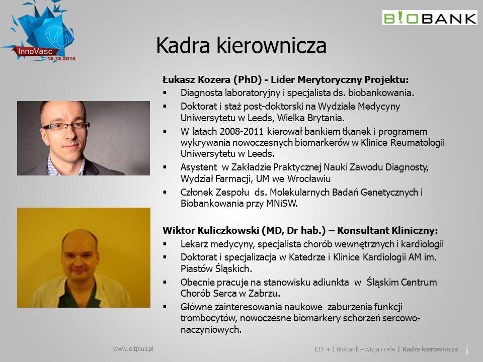 www.eitplus.pl EIT + | Biobank – wizja i cele | Kadra kierownicza 13 Kadra kierownicza Łukasz Kozera (PhD) - Lider Merytoryczny Projektu:  Diagnosta