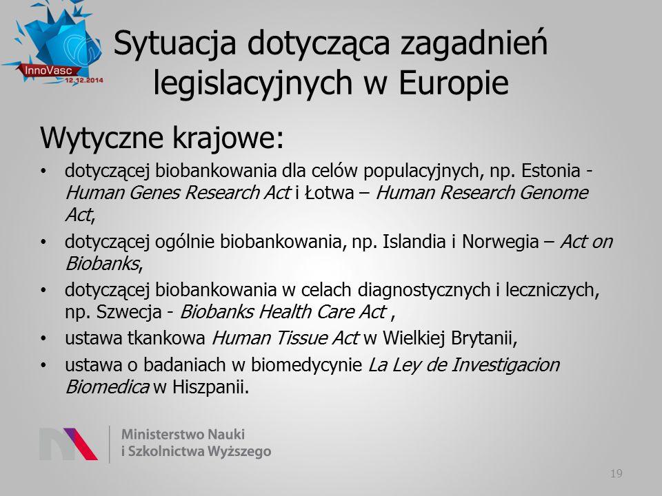 Sytuacja dotycząca zagadnień legislacyjnych w Europie Wytyczne krajowe: dotyczącej biobankowania dla celów populacyjnych, np. Estonia - Human Genes Re