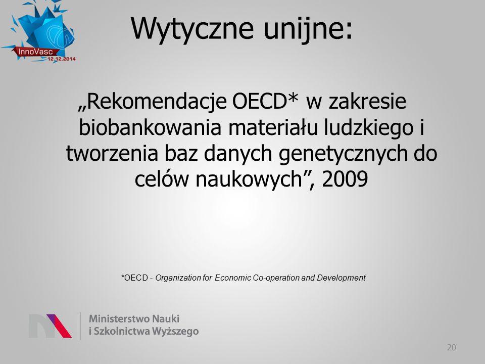 """""""Rekomendacje OECD* w zakresie biobankowania materiału ludzkiego i tworzenia baz danych genetycznych do celów naukowych"""", 2009 20 Wytyczne unijne: *OE"""