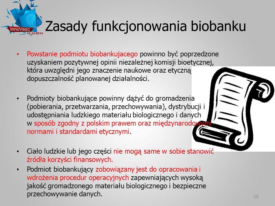 Zasady funkcjonowania biobanku Powstanie podmiotu biobankujacego powinno być poprzedzone uzyskaniem pozytywnej opinii niezależnej komisji bioetycznej,