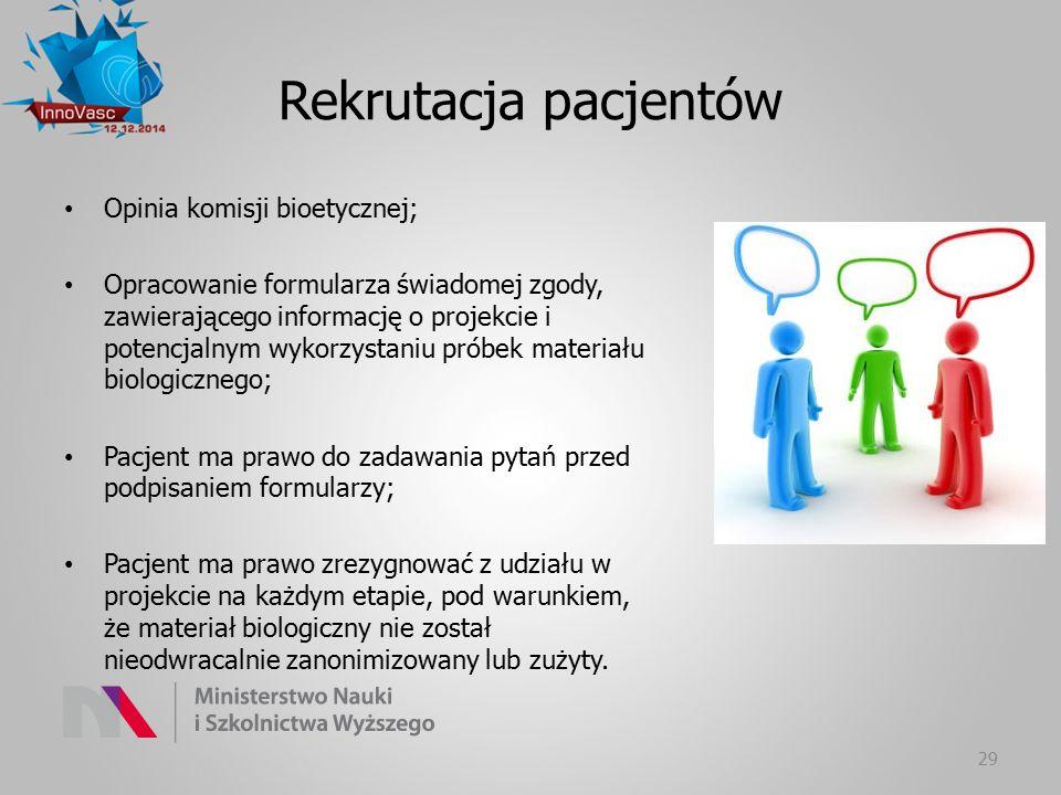 Rekrutacja pacjentów Opinia komisji bioetycznej; Opracowanie formularza świadomej zgody, zawierającego informację o projekcie i potencjalnym wykorzyst