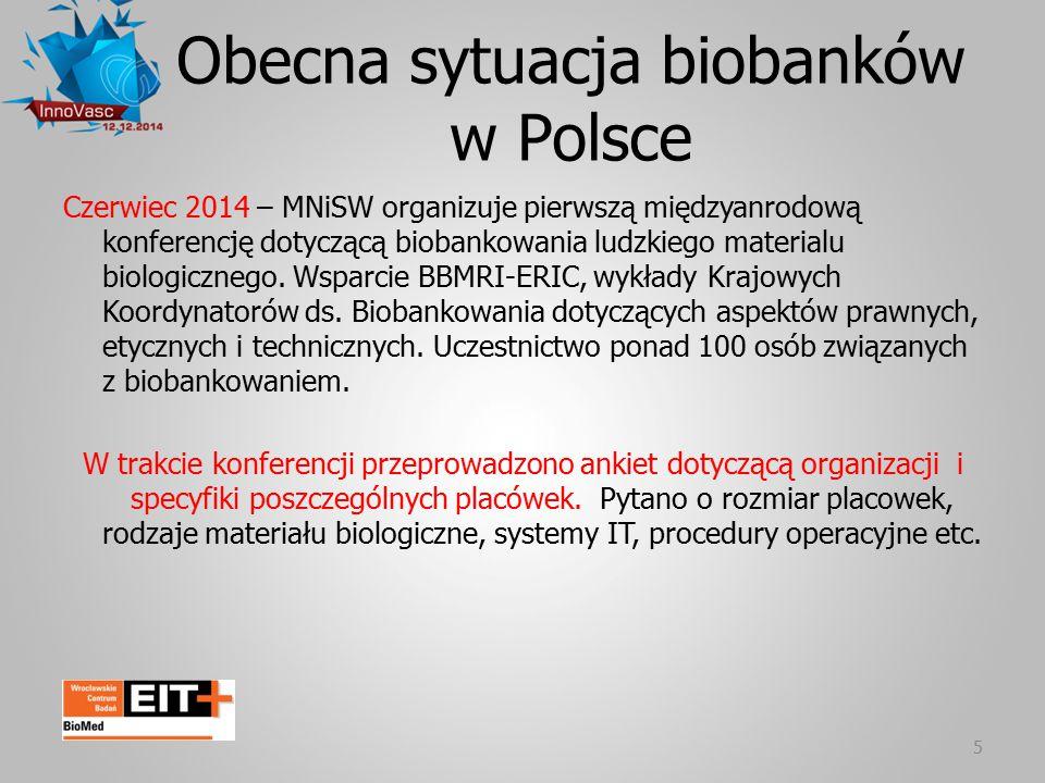 Obecna sytuacja biobanków w Polsce 5 Czerwiec 2014 – MNiSW organizuje pierwszą międzyanrodową konferencję dotyczącą biobankowania ludzkiego materialu