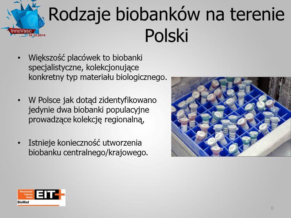 6 Rodzaje biobanków na terenie Polski Większość placówek to biobanki specjalistyczne, kolekcjonujące konkretny typ materiału biologicznego. W Polsce j