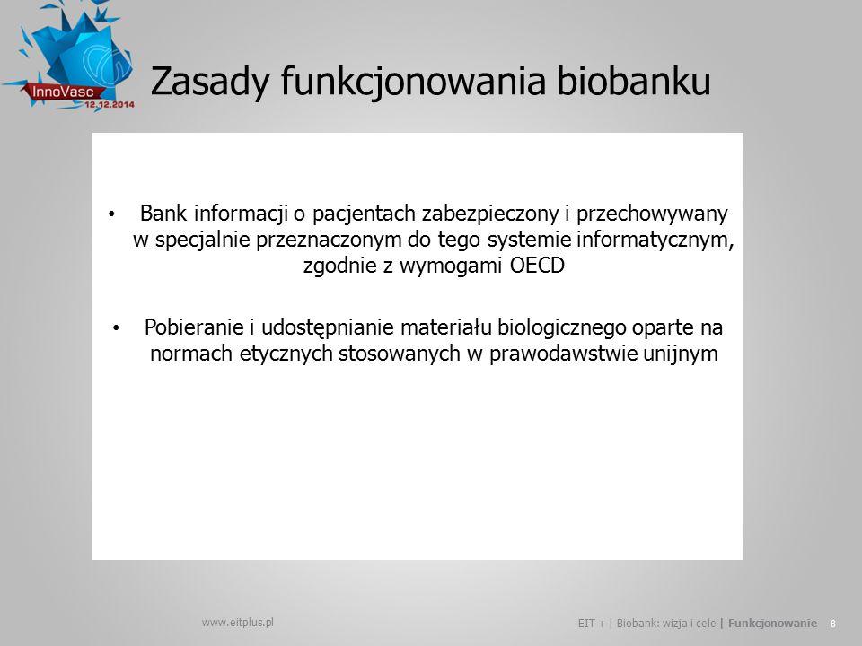 www.eitplus.pl EIT + | Biobank: wizja i cele | Funkcjonowanie 8 Bank informacji o pacjentach zabezpieczony i przechowywany w specjalnie przeznaczonym