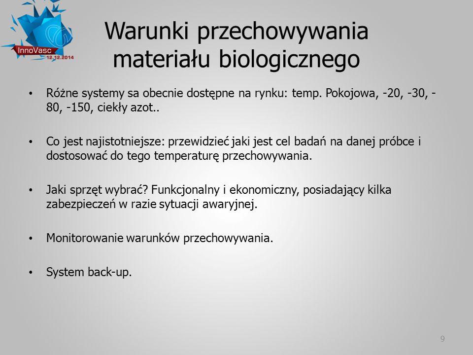 Warunki przechowywania materiału biologicznego Różne systemy sa obecnie dostępne na rynku: temp. Pokojowa, -20, -30, - 80, -150, ciekły azot.. Co jest