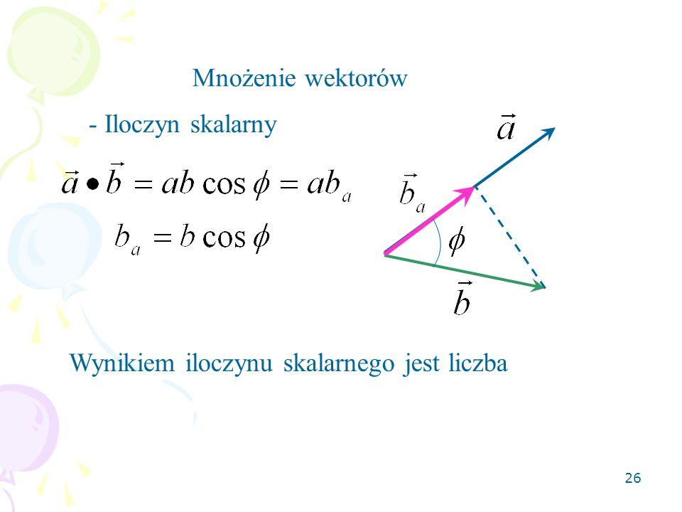 26 Mnożenie wektorów - Iloczyn skalarny Wynikiem iloczynu skalarnego jest liczba