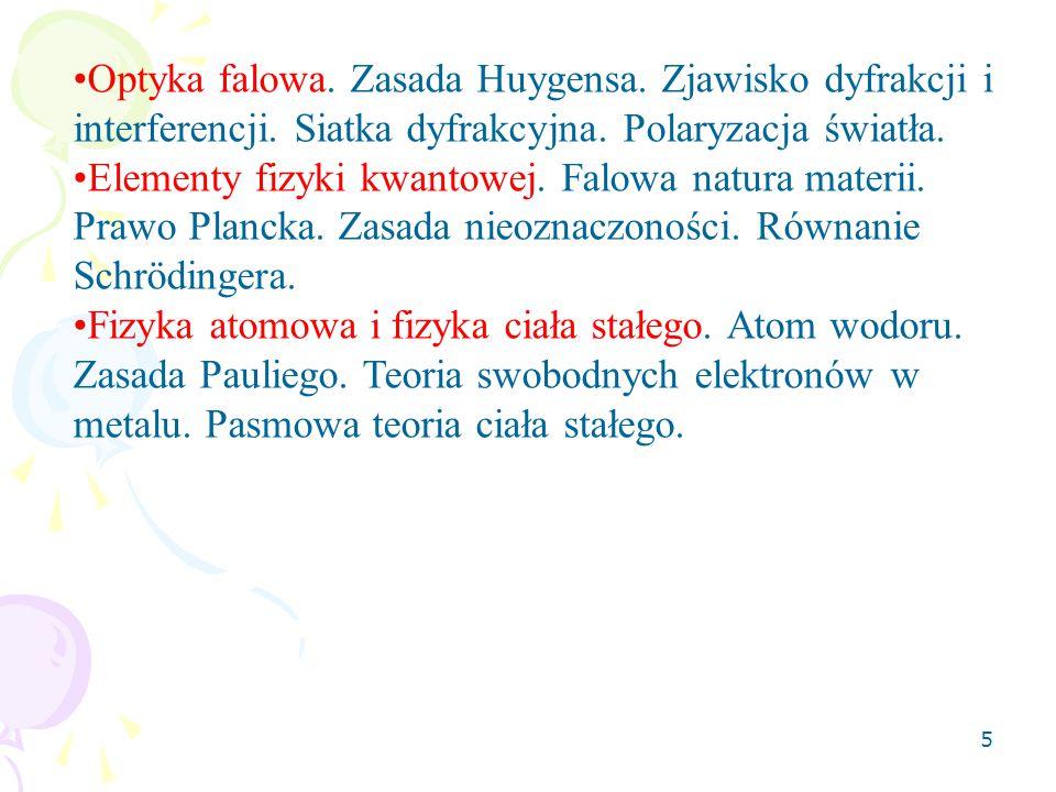 5 Optyka falowa. Zasada Huygensa. Zjawisko dyfrakcji i interferencji. Siatka dyfrakcyjna. Polaryzacja światła. Elementy fizyki kwantowej. Falowa natur