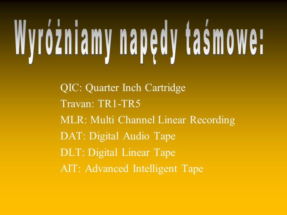 QIC: Quarter Inch Cartridge Travan: TR1-TR5 MLR: Multi Channel Linear Recording DAT: Digital Audio Tape DLT: Digital Linear Tape AIT: Advanced Intelligent Tape