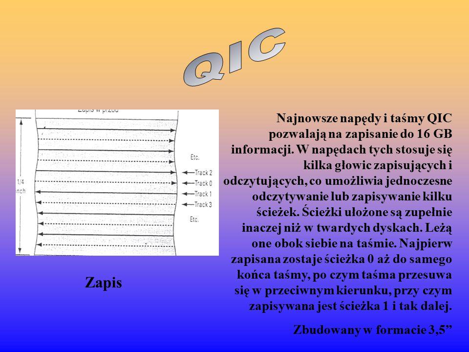 Najnowsze napędy i taśmy QIC pozwalają na zapisanie do 16 GB informacji.