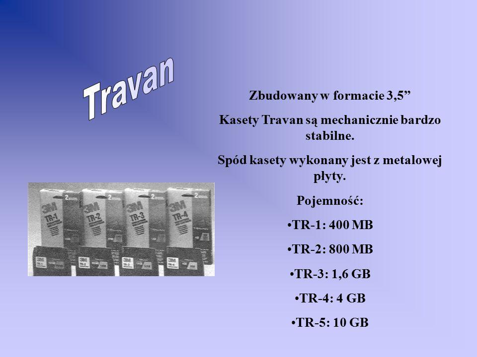 Zbudowany w formacie 3,5 Kasety Travan są mechanicznie bardzo stabilne.