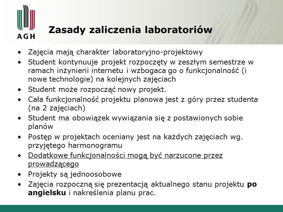 Zasady zaliczenia laboratoriów Zajęcia mają charakter laboratoryjno-projektowy Student kontynuuje projekt rozpoczęty w zeszłym semestrze w ramach inży