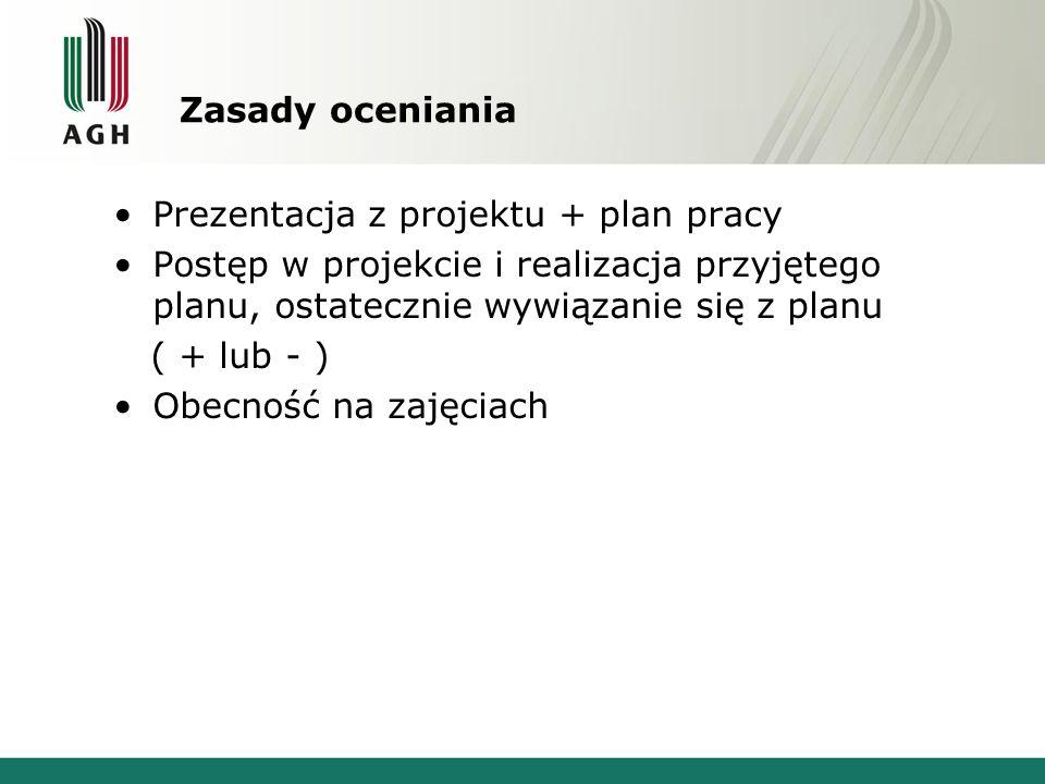 Zasady oceniania Prezentacja z projektu + plan pracy Postęp w projekcie i realizacja przyjętego planu, ostatecznie wywiązanie się z planu ( + lub - )