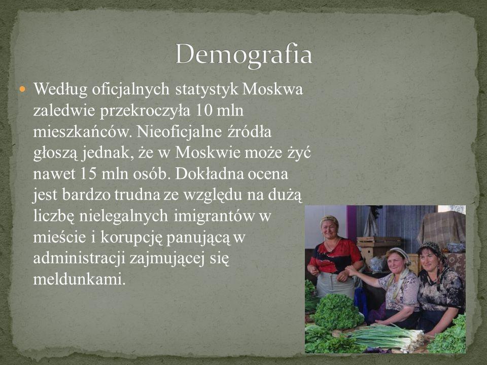 Według oficjalnych statystyk Moskwa zaledwie przekroczyła 10 mln mieszkańców.