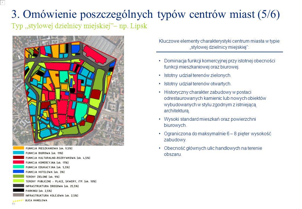 """12 Kluczowe elementy charakterystyki centrum miasta w typie """"nowoczesnej dzielnicy : Dominacja funkcji mieszkaniowej przy istotnej obecności funkcji biurowej oraz kulturalno-rozrywkowej."""