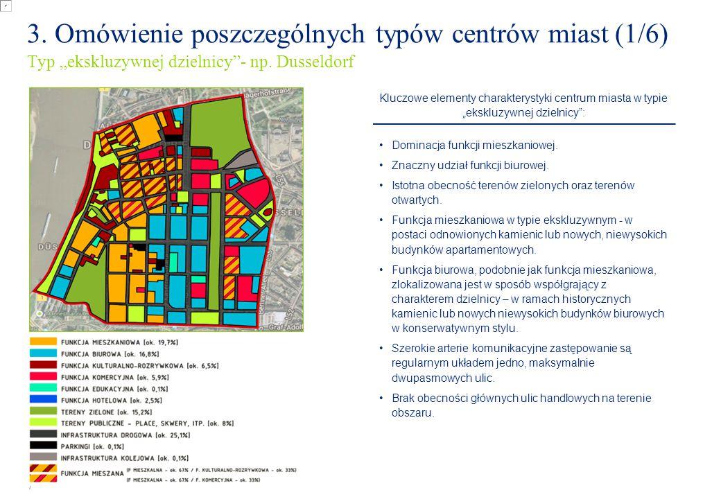 """7 3. Omówienie poszczególnych typów centrów miast (1/6) Typ """"ekskluzywnej dzielnicy""""- np. Dusseldorf Kluczowe elementy charakterystyki centrum miasta"""